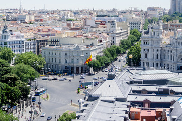 Cityscape of Madrid on summer hot day
