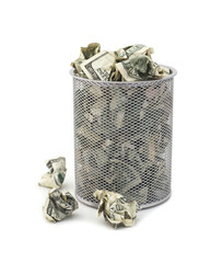 Garbage bin full of cash