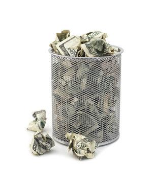 Garbage bin full of cash