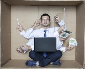 multipurpose businessman in the box office