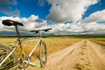bicycle on a field with road