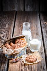 Milk and sweet cookies