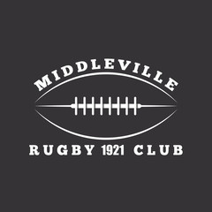 American football or rugby ball, club logo template