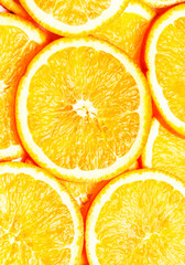 Orange Background. Slices of fresh orange fruit  closeup. Health