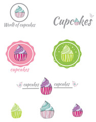 decorative set of logos painted cupcakes