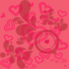 Red And Pink Background With Hearts And Leaves Patterns