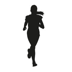 Running young girl vector silhouette