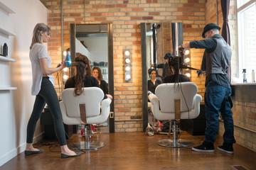 Weman Getting Hair Styled
