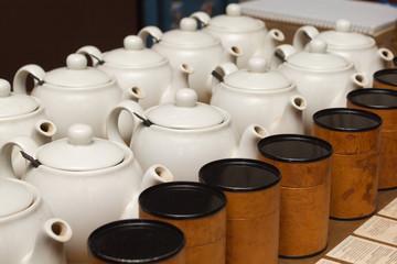 White teapots with tea