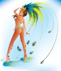 A beautiful carnival girl wearing a festival costume