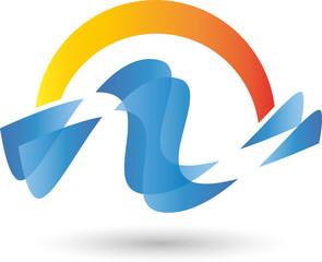 Logo, Wellen, Wasser, Sonne
