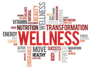 WELLNESS word cloud, fitness, sport, health concept Fototapete