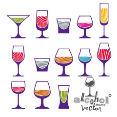 Classic vector goblets collection – martini, wineglass, cognac