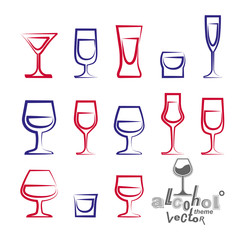 Vector glasses collection – martini, wineglass, cognac, whiske