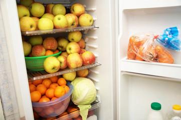 raw fruits in the fridge