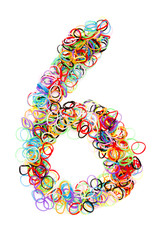 Colorful elastic rubber bands shape Number six
