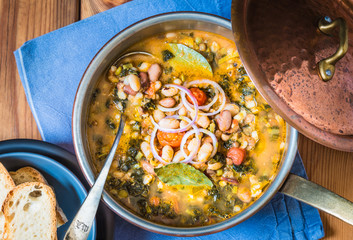 Soup with different vegetables,beans, tuscan soup, ribollita.