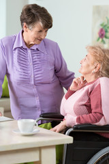 Senior woman using wheelchair