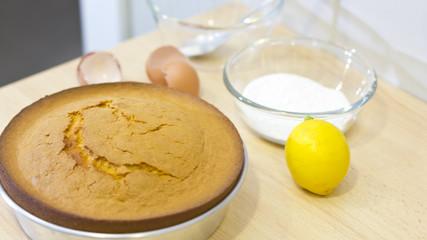 Baking a home made cake