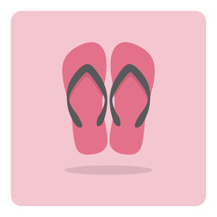 Vector of flat icon, beach sandals on isolated background