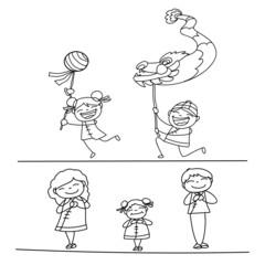 hand drawing Chinese New Year cartoon character