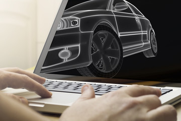 car engineering on a laptop