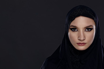 Close portrait of a beautiful Muslim woman