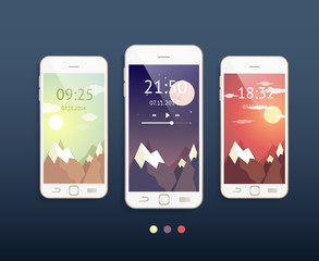 Vector mobile phones with three backgrounds