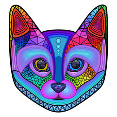 Cat, colorful, head, ornament, abstraction, vector