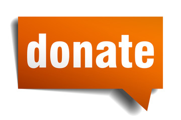 donate orange speech bubble isolated on white