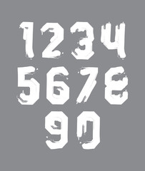 Stroked white numbers set drawn with real ink brush, vector chil