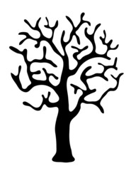 black tree without leaves, vector