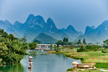 Photo sur cadre textile Guilin li river Guilin Yangshuo Guangxi China