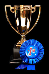 First place award: golden cup and blue ribbon