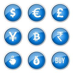 Currency Sign Blue Vector Button Icon Design Set