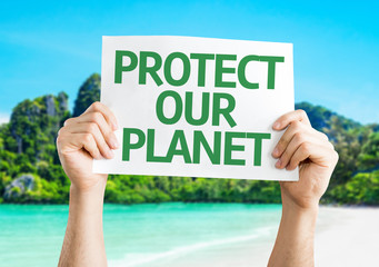 Protect Our Planet card with beach background