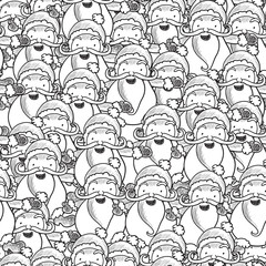 Illustration of seamless pattern with Santa Claus sketch