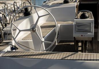 yacht steering wheel.