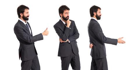 Businessman thinking over isolated white background