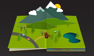 Mountain Forest Popup Book paper