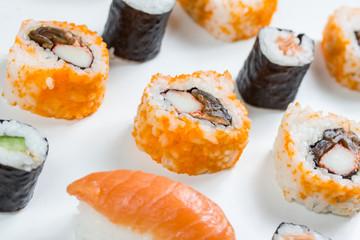 plain isolated mixed sushi rolls