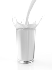 Glass of Milk with Pouring Splash isolated on white background