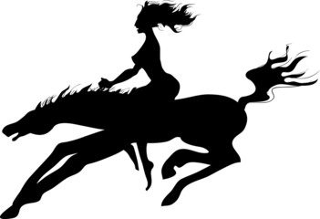 Silhouette of  horsewoman