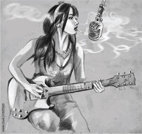 smoking guitar player an hand drawn vector stock image and