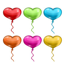 Set colorful balloons in the shape of hearts isolated on white b