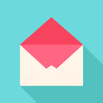 White and pink open envelope