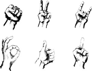 Black and White Hand sketches drawing