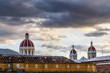 granada nicaragua view with cathedral and sky at background
