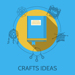 Flat design vector illustration of crafts ideas