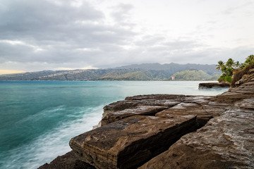 Long exposure of Maunalua Bay and Diamond Head in distance from